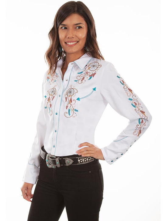 Scully PL-877 Womens Dream Catcher Embroidery LS Western Shirt White