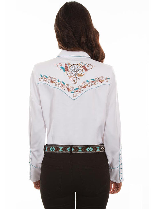 Scully PL-877 Womens Floral Embroidered LS Western Shirt White