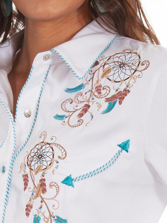 Scully PL-877 Womens Dream Catcher Embroidery LS Western Shirt White Close up