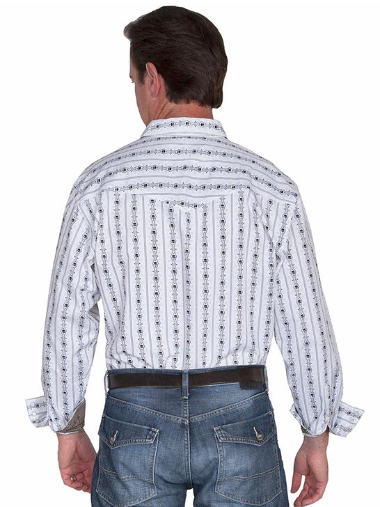 Scully PS-093 Mens Skull Stripe LS Authentic Western Shirt White Back