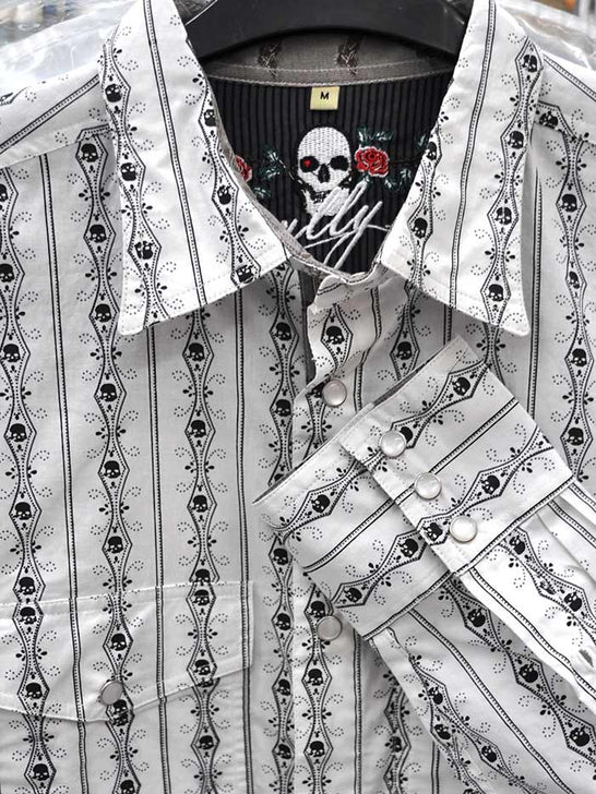Scully PS-093 Mens Skull Stripe LS Authentic Western Shirt White Sleeve