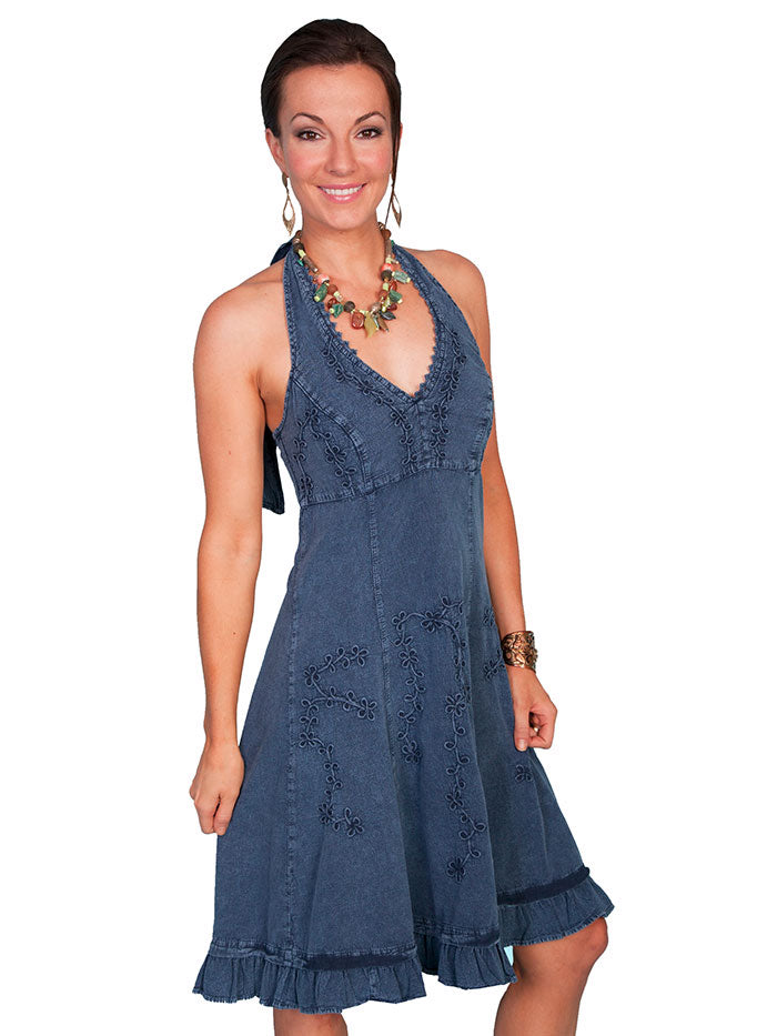 Scully PSL-053 Womens Knee Length Tie Back Halter Dress Dark Blue Front