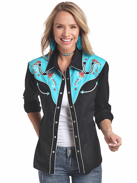 Panhandle 22S3700 Womens Retro 2-Toned Horseshoe Long Sleeve Shirt Black Front