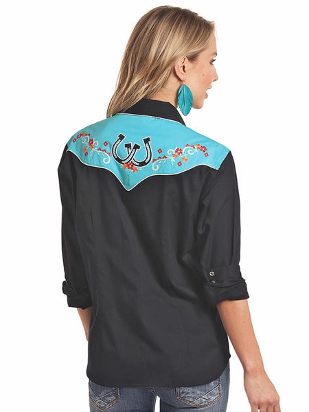 Panhandle 22S3700 Womens Retro 2-Toned Horseshoe Long Sleeve Shirt Black Back
