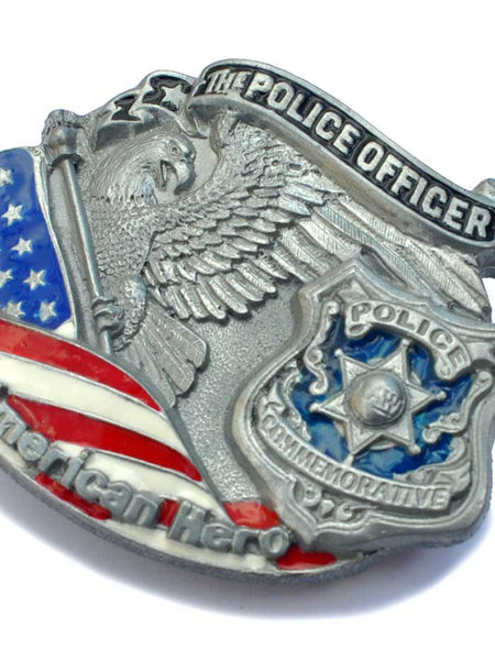 American Hero Police Officer Belt Buckle 4201 Spec Cast - J.C. Western® Wear