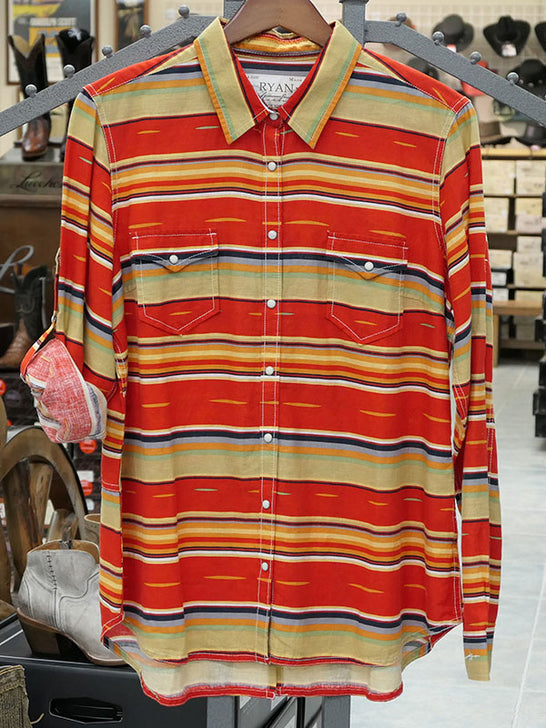 Ryan Michael Q1662SX Womens Serape Stripe Print Snap Shirt Front