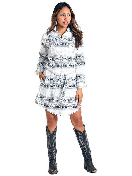 Panhandle R4O4040 Womens Aztec LS Stretch 2 Pocket Snap Dress Front View