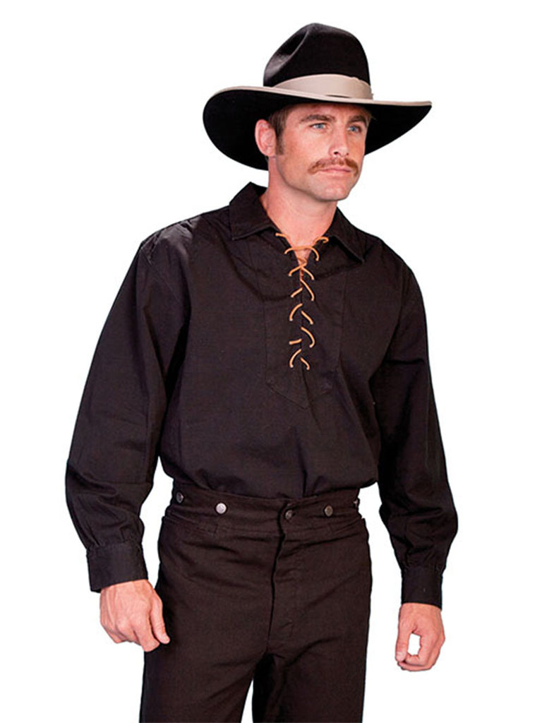 1278f267 Scully RangeWear Leather Lace Up Western Shirt - RW021-BLK Scully - J.C.  Western®