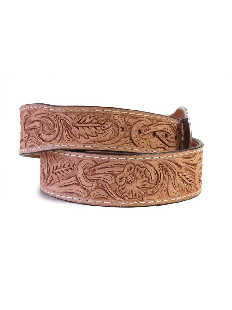 Ranger IB1053RO Mens Western Floral Tooled Leather Belt