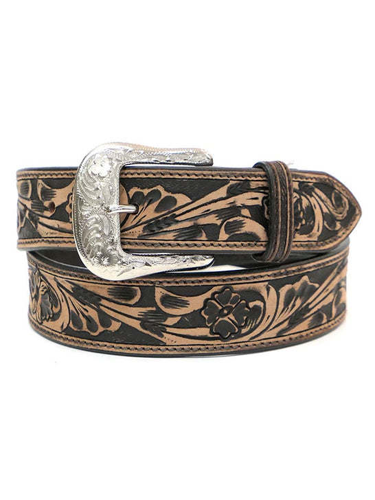 Ranger KH-1059 Mens Floral Tooled Western Leather Belt Tan at JC Western