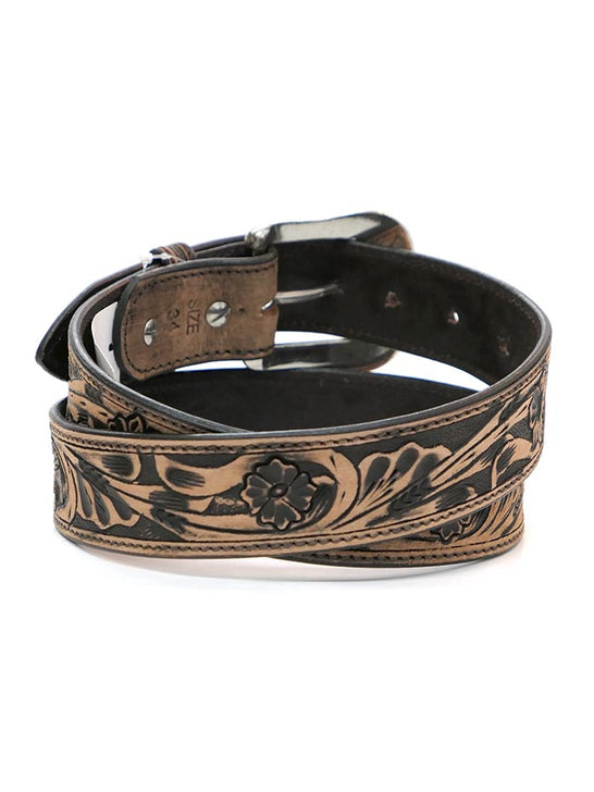 Ranger KH-1059 Mens Floral Tooled Western Leather Belt Tan back view