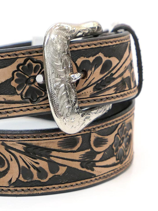 Ranger KH-1059 Mens Floral Tooled Western Leather Belt Tan close up