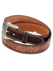 Ranger Mens LARGE SIZE Brown Ostrich Tooled Tab Belt WB6003