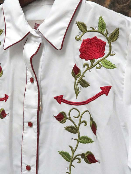 Rangers 060DA01 Womens Floral Embroidery Vaquera Western Shirt White Close up