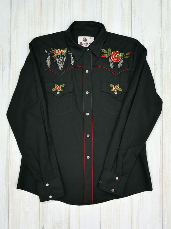 Rangers 067DA01 Womens Floral Embroidery Vaquera Western Shirt Black Front View