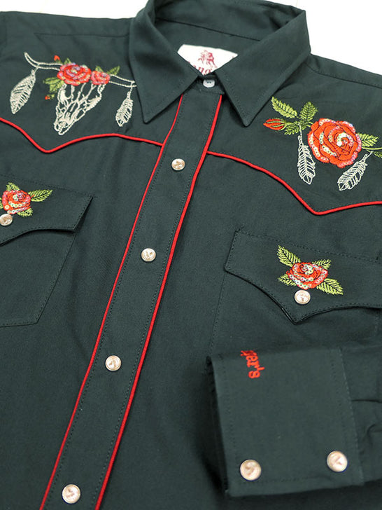 Rangers 067DA01 Womens Floral Embroidery Vaquera Western Shirt Black Close up front