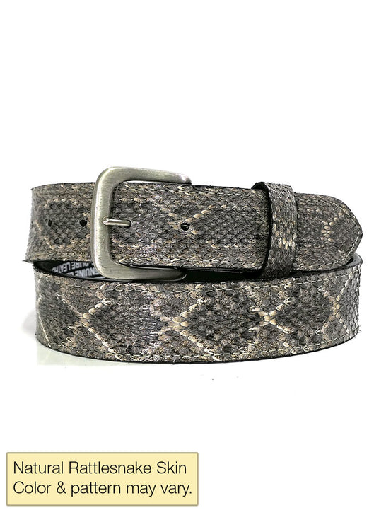Skin Shop 9799R Mens Genuine Rattlesnake Skin Western Belt Natural Hand Made