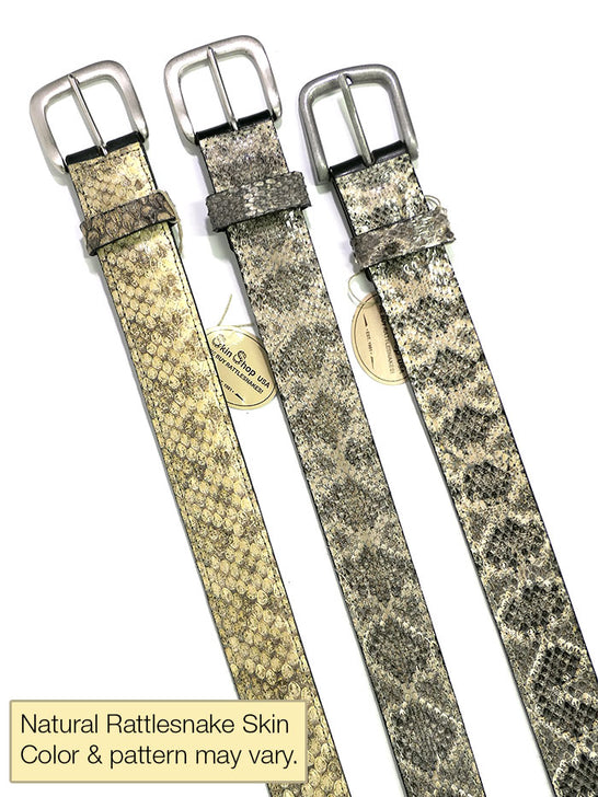 Skin Shop 9799R Mens Genuine Rattlesnake Skin Western Belt Natural Color may vary
