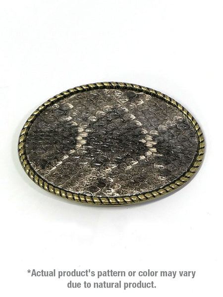 Skin Shop® USA Rattle Snake Skin Solid Brass Belt Buckle 121R Front View