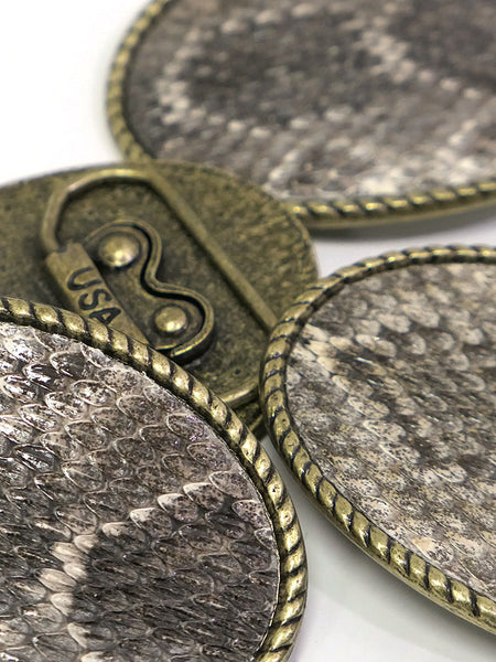 Skin Shop® USA Rattle Snake Skin Solid Brass Belt Buckle 121R Multi Buckle