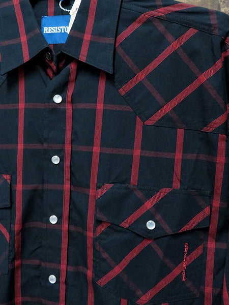 Resistol Mens Black Red Long Sleeve Snap Shirt RS101620 Close Up