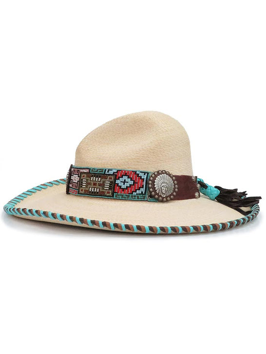 Red Star Riggings Beaded Band Concho Laced Palm Leaf Straw Hat RSR102