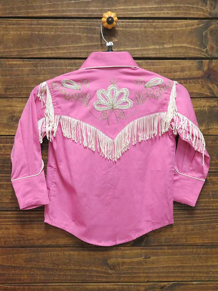 back of Rockmount Kids Embroidered Fringe Pink LS Western Shirt 8723
