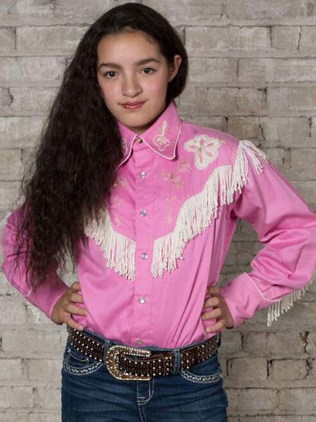Rockmount Kids Embroidered Fringe Pink LS Western Shirt 8723 with girl