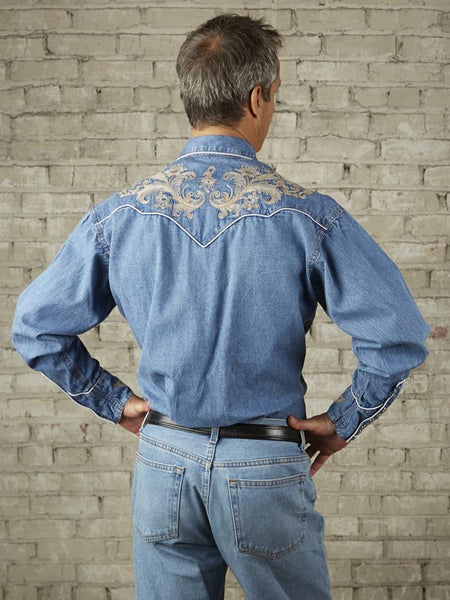 Rockmount 6789 Mens Floral Embroidery LS Vintage Western Shirt Denim back