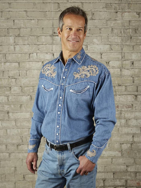 Rockmount 6789 Mens Floral Embroidery LS Vintage Western Shirt Denim Front Side
