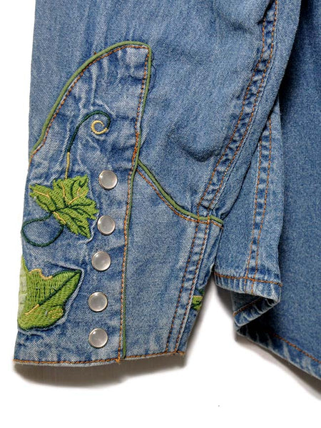 Rockmount 6799 Mens Hops Vintage Embroidered Denim Shirt Cuff