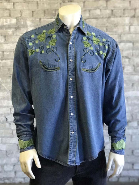 Rockmount 6799 Mens Hops Vintage Embroidered Denim Shirt Front