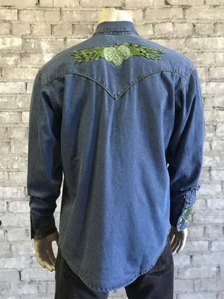 Rockmount 6799 Mens Hops Vintage Embroidered Denim Shirt Back