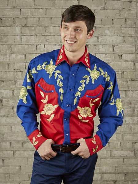 Rockmount 6869 Mens Floral 2-Tone LS Western Shirt Red and Blue Front Side