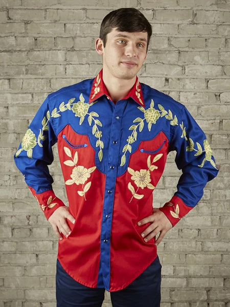 Rockmount 6869 Mens Floral 2-Tone LS Western Shirt Red and Blue Front Display