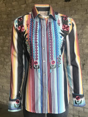 Rockmount 7707 Womens Boho Cascading Embroidery Western Shirt Serape Front