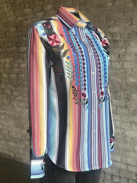 Rockmount 7707 Womens Boho Cascading Embroidery Western Shirt Serape Side view