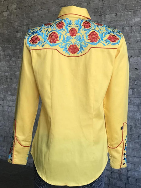 Rockmount 7735 Womens Red & Blue Embroidery Vintage Shirt Gold Back at JCW