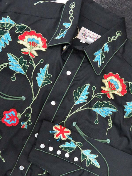 Rockmount Mens Floral Embroidery Cotton Gabardine Western Shirt 6718