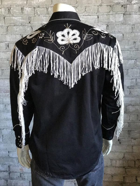 Rockmount Men's Vintage Fringe Embroidered Western Shirt 6723 Black Back