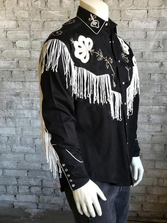 Rockmount Men's Vintage Fringe Embroidered Western Shirt 6723 Black 3 quarter