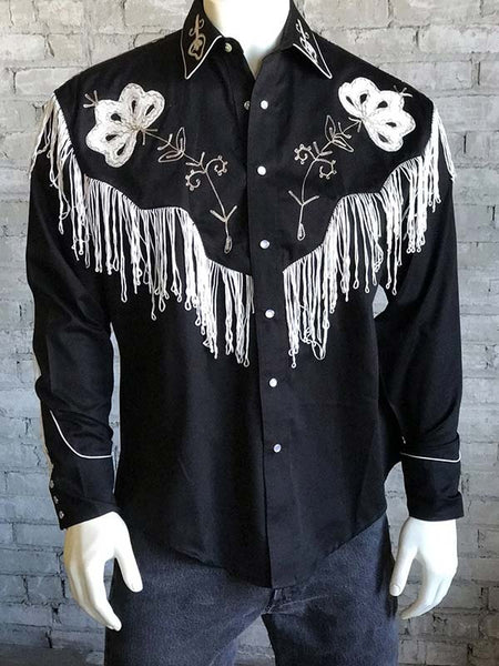 Rockmount 6723 Mens Vintage Fringe Embroidered Western Shirt Black FRONT