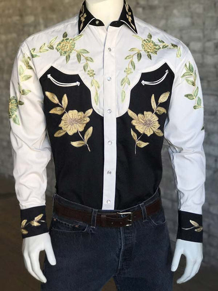 Rockmount Mens Floral 2 Tone Western Shirt 6869