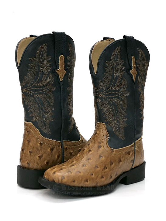 09-018-1224-1526 TA Roper 1526TA Kids Cowboy Cool Ostrich Square Toe Western Boot Tan/Navy a Pair