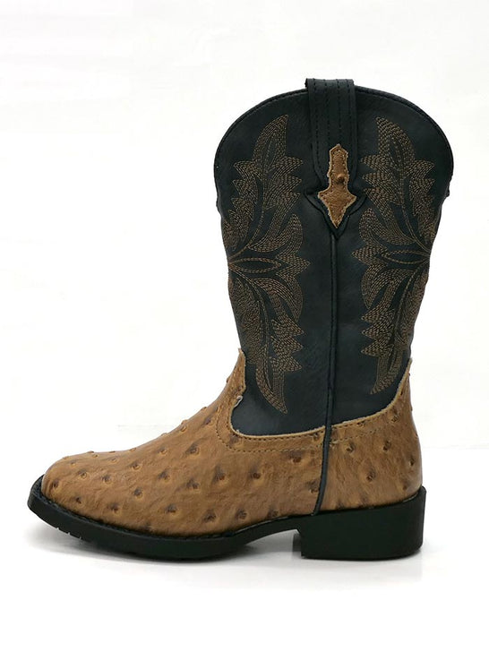 Roper 1526TA Kids Cowboy Cool Ostrich Square Toe Western Boot Tan/Navy Side View at JC western