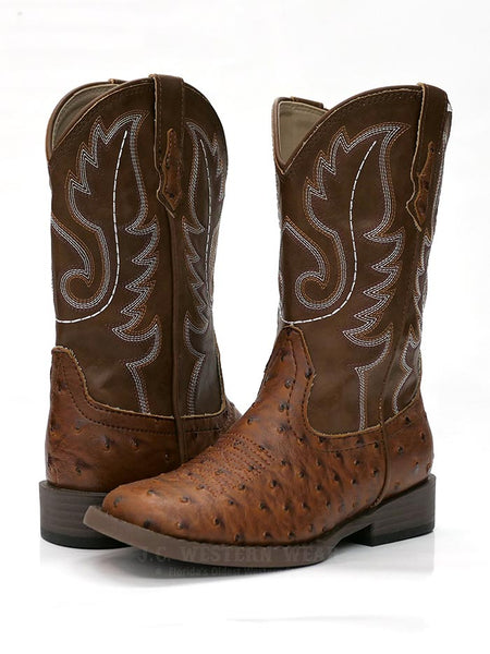 Roper 0807TA Kids BUMPS Ostrich Print Square Toe Western Boot Tan A Pair at JC Western 09-018-1900-0807 TA