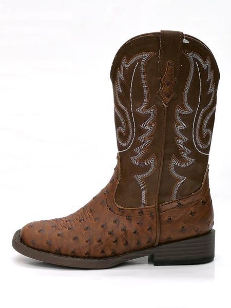 Roper 0807TA Kids BUMPS Ostrich Print Square Toe Western Boot Tan Side View at JC Western 09-018-1900-0807 TA