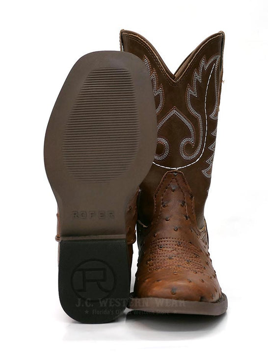 Roper 0807TA Kids BUMPS Ostrich Print Square Toe Western Boot Tan Front and SOle at JC Western 09-018-1900-0807 TA