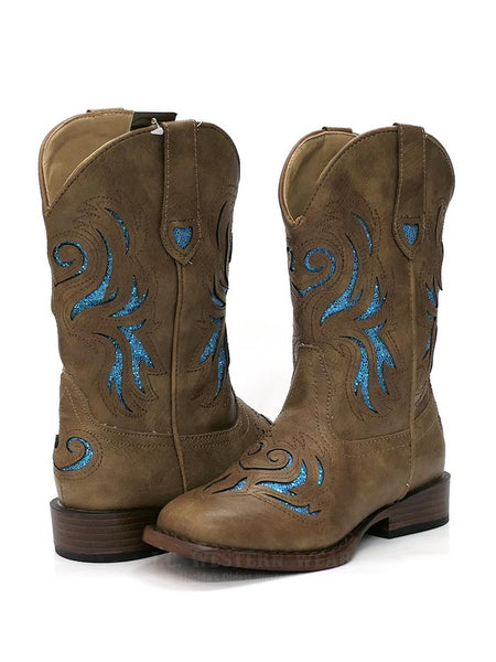 Roper 1549TA Kids GLITTER BREEZE Square Toe Bling Cowgirl Boot Tan 09-018-1901-1549 TA A Pair