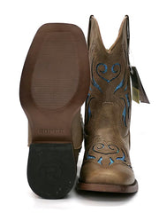 Roper 1549TA Kids GLITTER BREEZE Square Toe Bling Cowgirl Boot Tan 09-018-1901-1549 TA Sole View